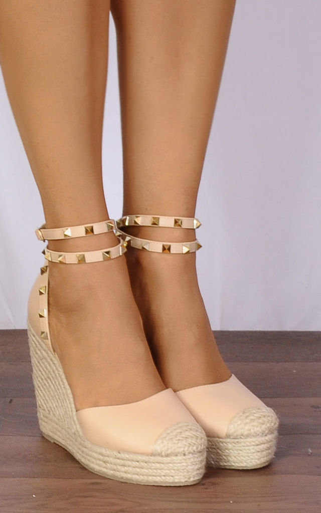 Studded Nude Wrap Round Canvas Wedged Platforms Wedges Strappy Sandals by Shoe Closet