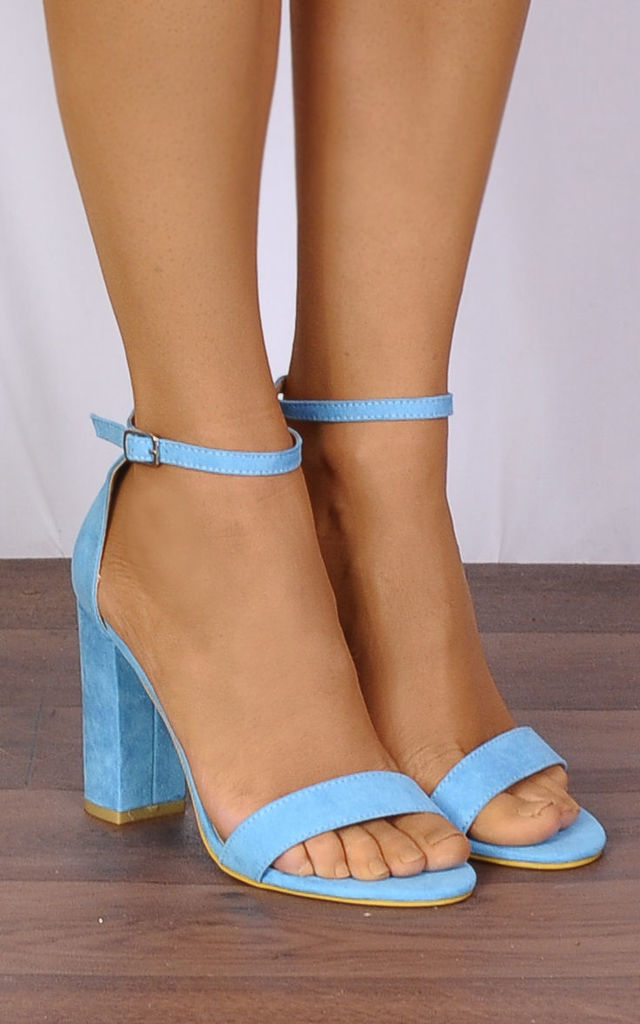 Turquoise Barely There High Heel Sandals by Shoe Closet