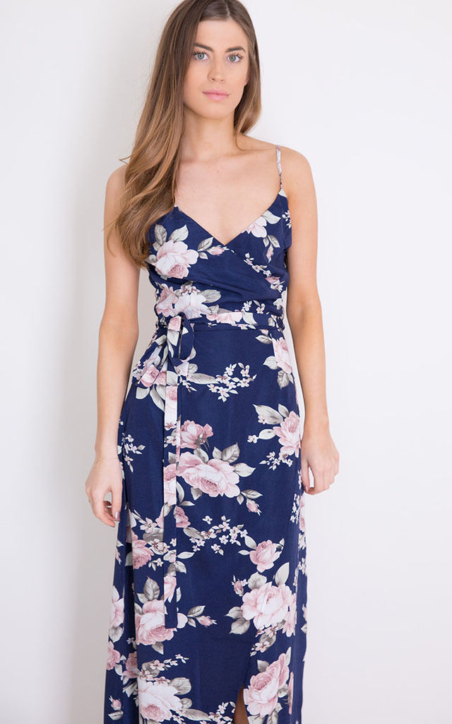 Lena Floral Wrap Maxi Navy by Girl In Mind