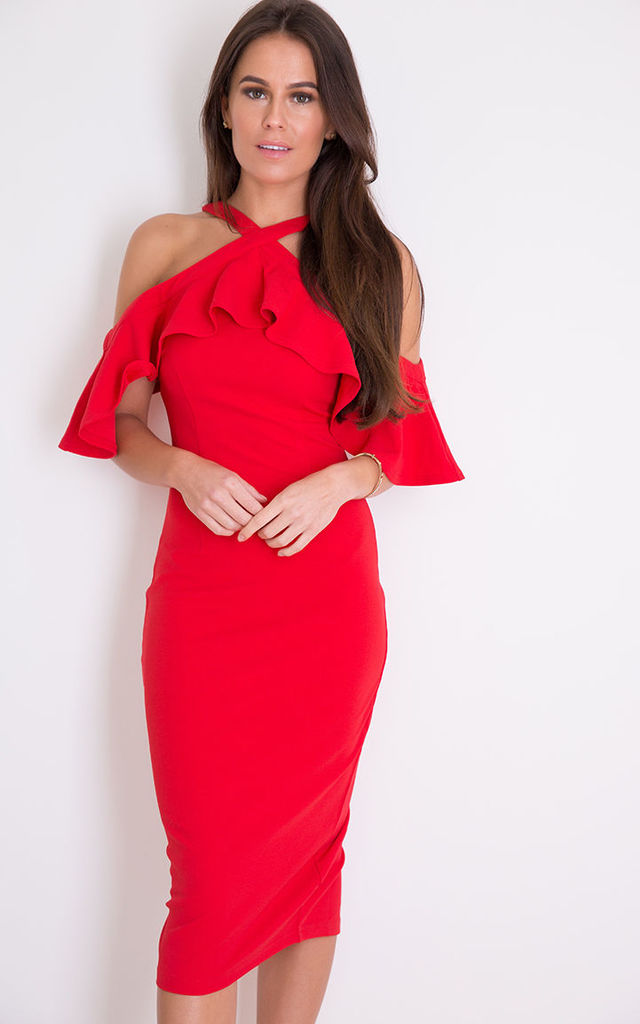 Holly Halterneck Frill Cold Shoulder Midi Dress Red by Girl In Mind
