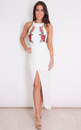 Lottie Floral Applique Maxi Dress White by Girl In Mind