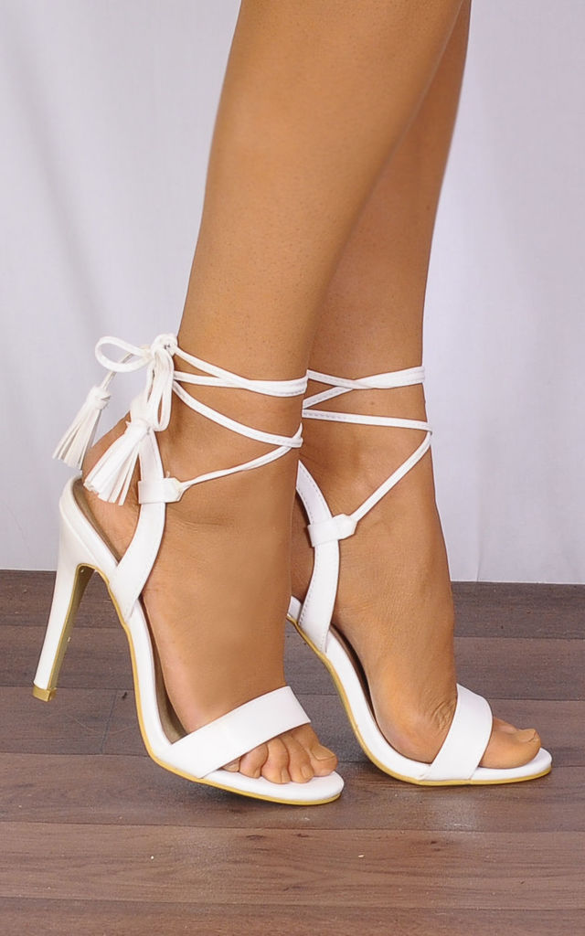 White Barely There Wrap Round Lace Ups Strappy Sandals High Heels by Shoe Closet
