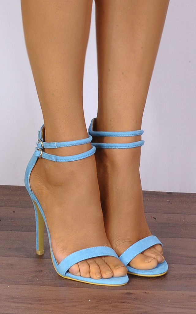 Turquoise Blue Strappy Sandals Stilettos High Heels by Shoe Closet