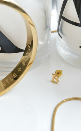 Letter 'B' Gold Stud Earring by Florence London