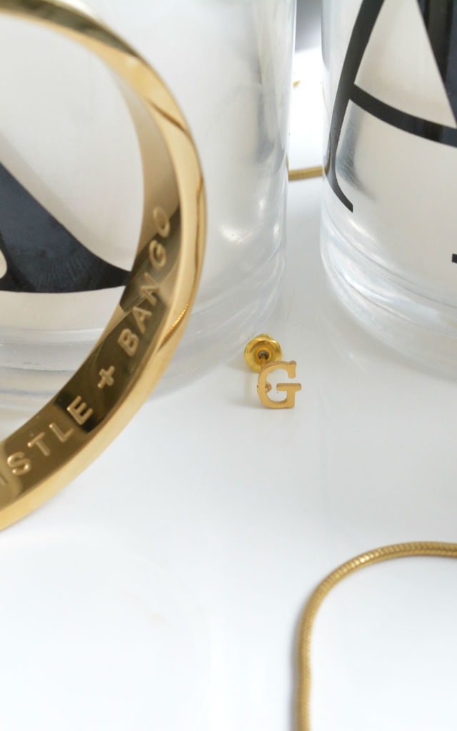 Letter 'G' Gold Stud Earring by Florence London