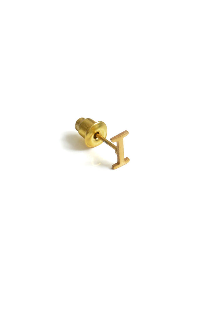 Letter 'I' Gold Stud Earring by Florence London