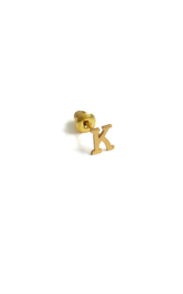 Letter 'K' Gold Stud Earring by Florence London