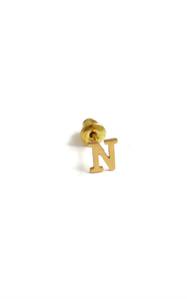 Letter 'N' Gold Stud Earring by Florence London