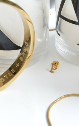 Letter 'P' Gold Stud Earring by Florence London
