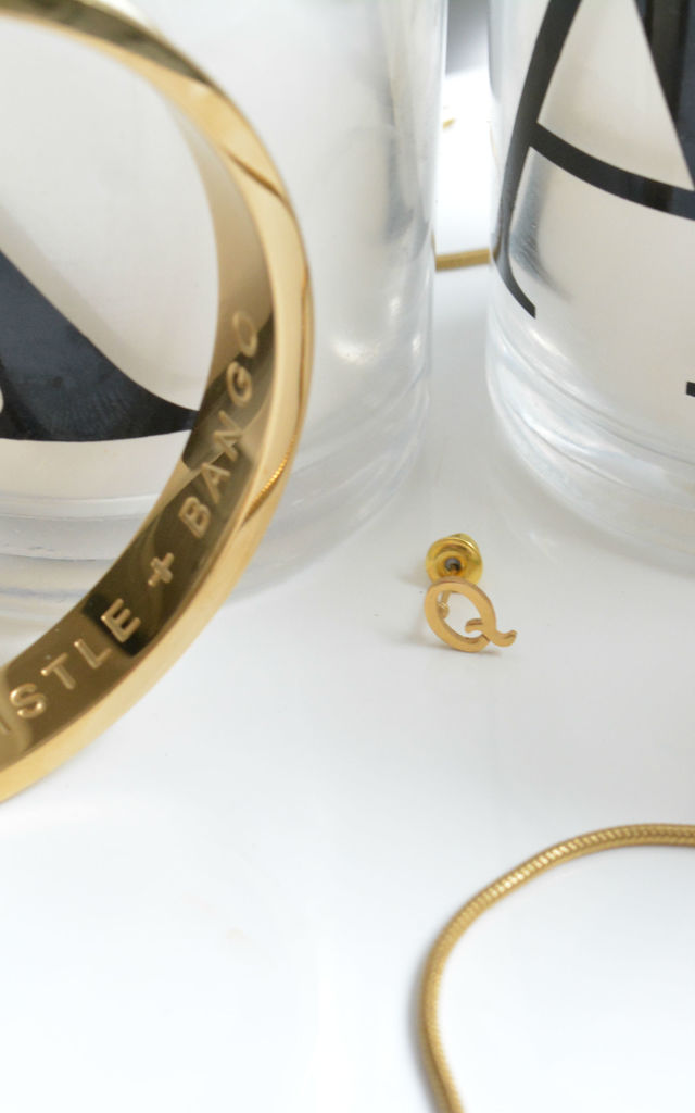Letter 'Q' Gold Stud Earring by Florence London