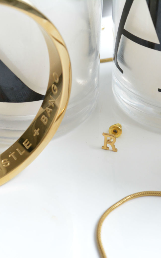 Letter 'R' Gold Stud Earring by Florence London