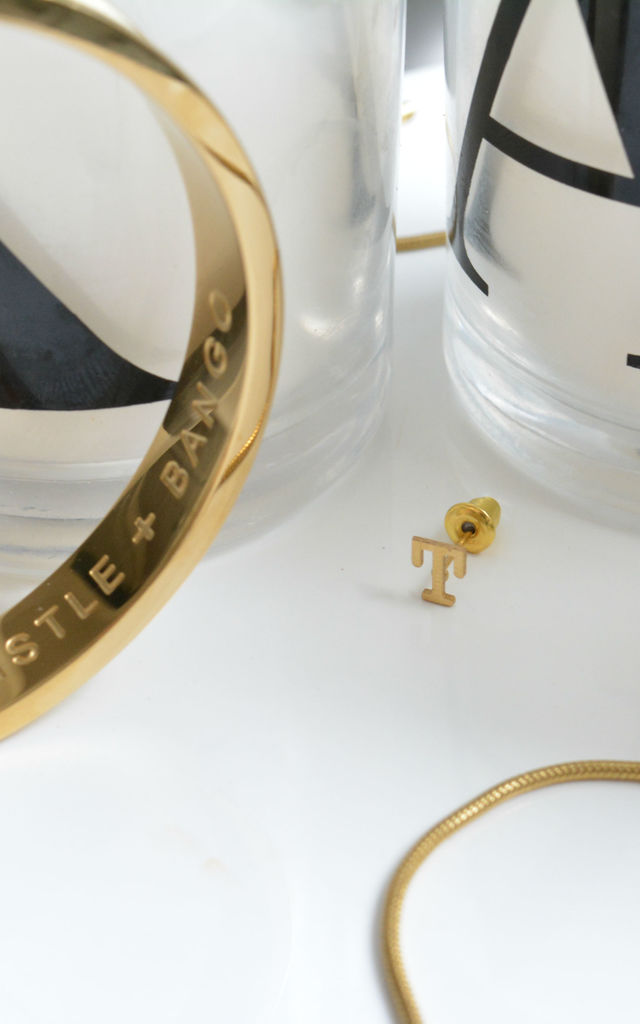 Letter 'T' Gold Stud Earring by Florence London