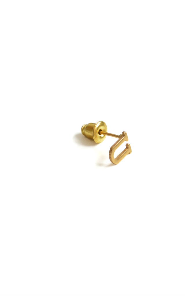 Letter 'U' Gold Stud Earring by Florence London
