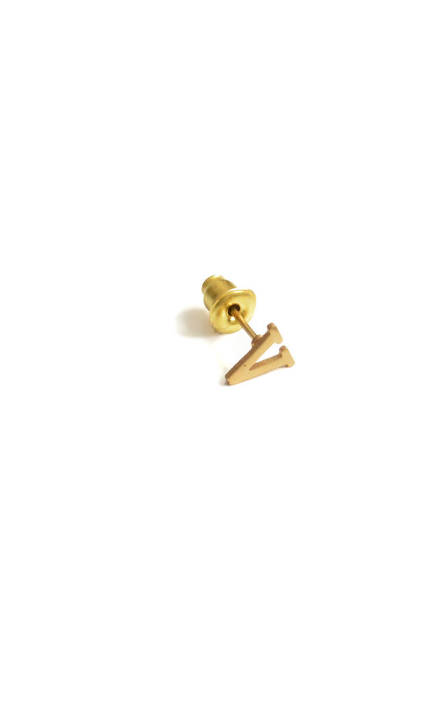 Letter 'V' Gold Stud Earring by Florence London