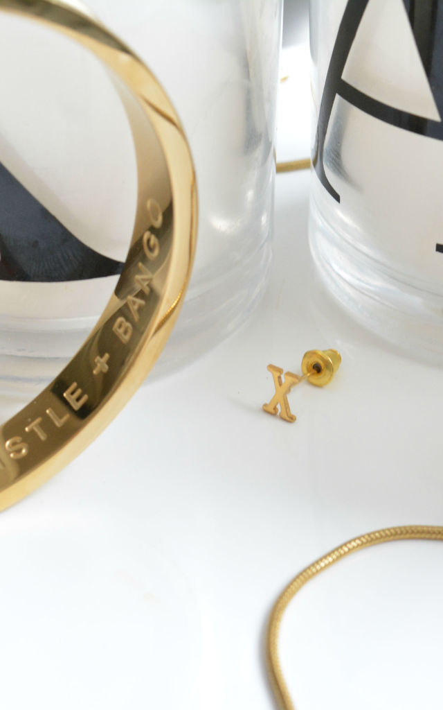 Big Letter 'X' Gold Stud Earring by Florence London