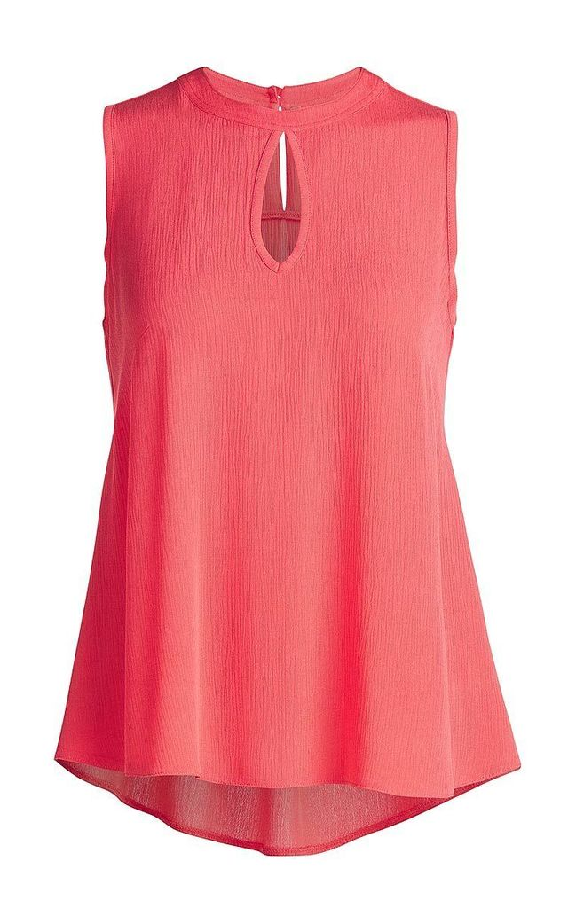Sleeveless Top with Rounded Hem in Coral Orange by Conquista Fashion
