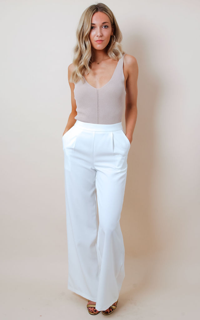 White Wide Leg Tailored Trousers by Pretty Lavish
