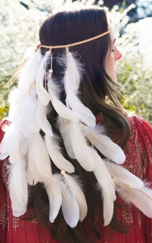 White Boho Festival Feather Headpiece by Collections by Hayley