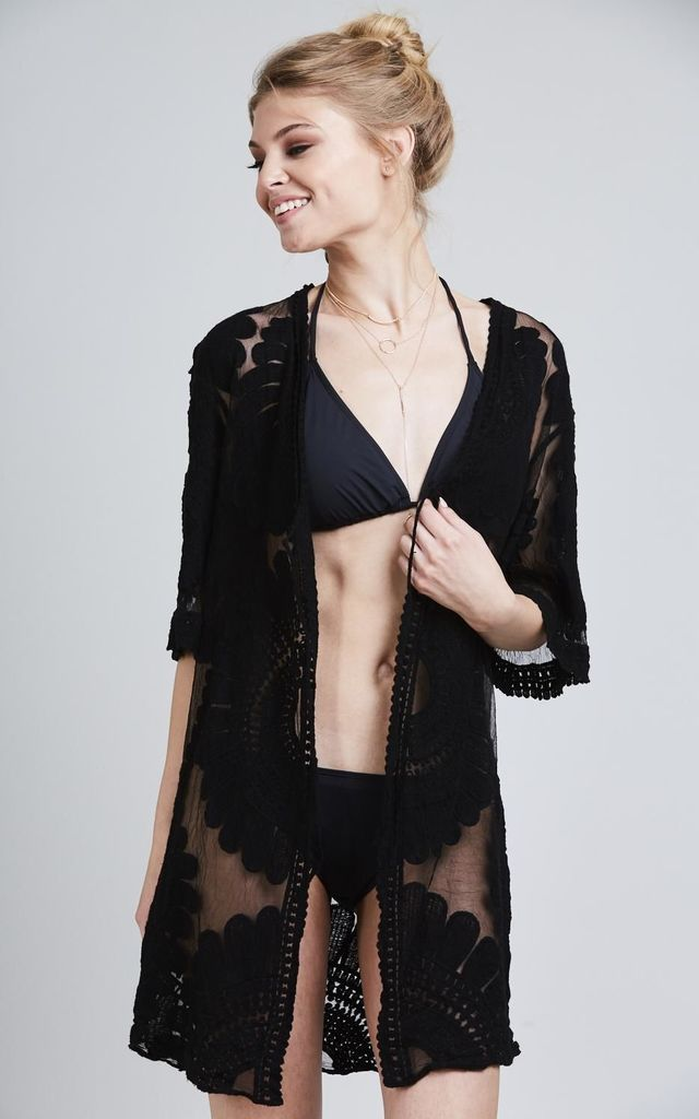 Black Sheer Embroidered Kimono by Black Lilly
