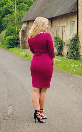 Charlotte, in Wine Midi Dress by Miss Pandora