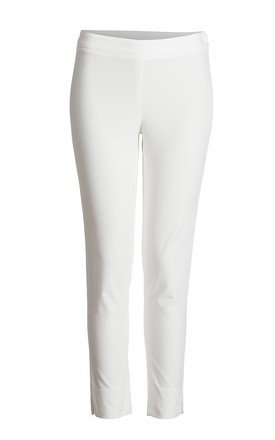 Stretch Fitted Trousers in White by Conquista Fashion