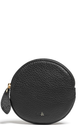 MAE Round Coin Purse in Black Leather by bell&fox