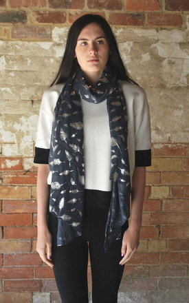 Feather Print Scarf In Navy by White Leaf Product photo