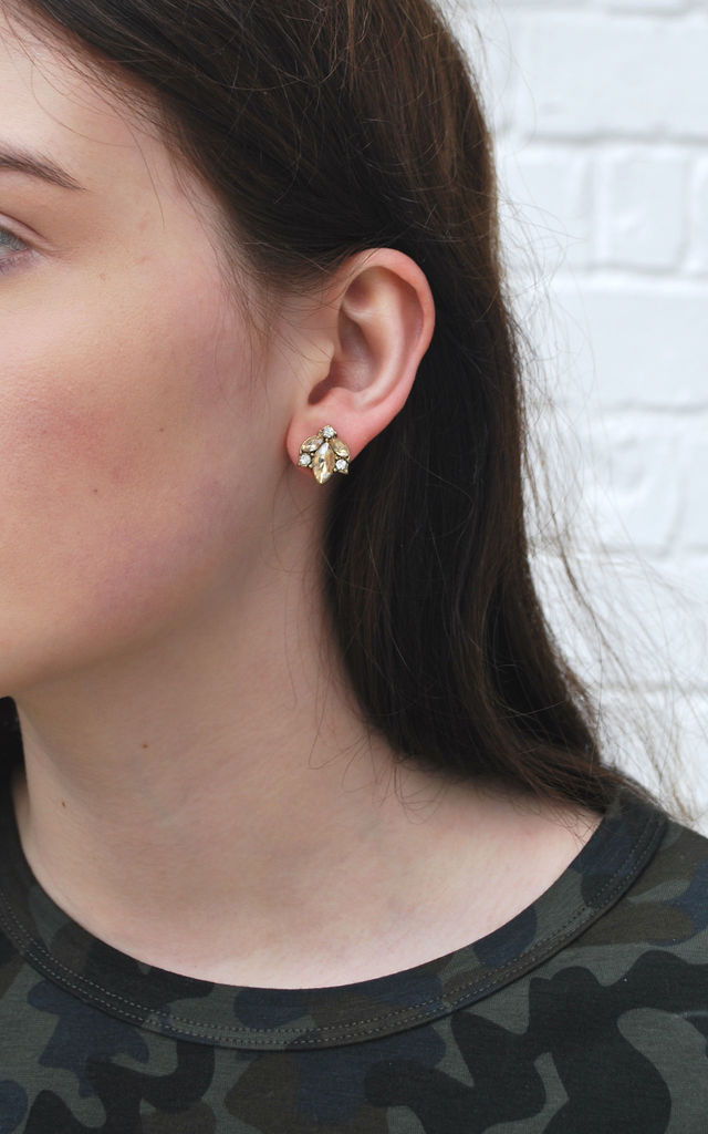 Crystal Cluster Earring in Amber with Antique Gold by LAST TRUE ANGEL