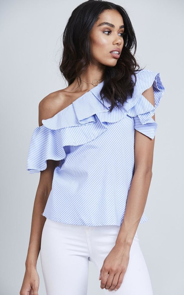 Pinstripe One Shoulder Ruffle Top by Black Lilly