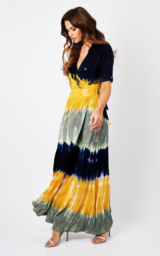 Dip dye Vintage Wrap Maxi Dress Navy Mustard Grey by Ruby Rocks