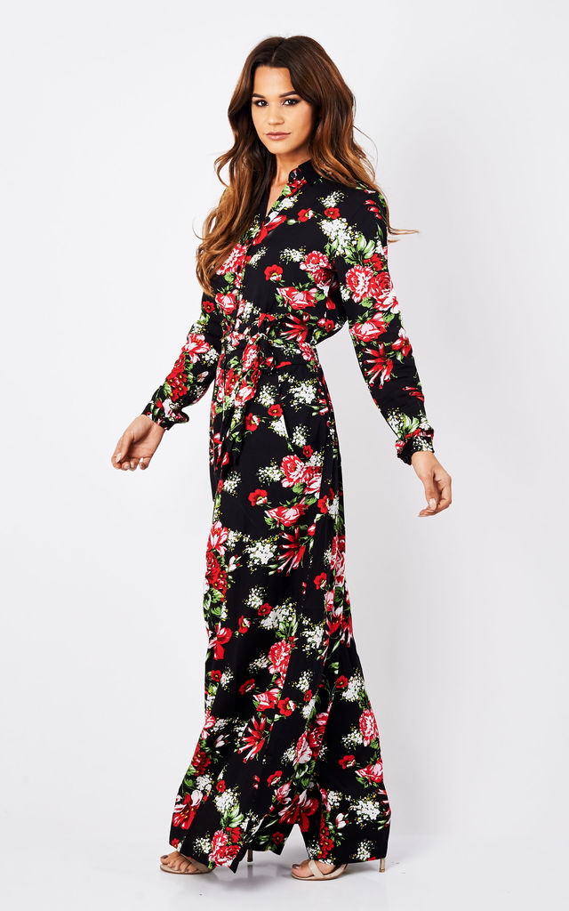 Black Floral Palazzo Shirt Jumpsuit by Ruby Rocks