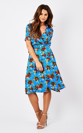 Vintage Wrap Dress Country Bouquet Blue by Ruby Rocks