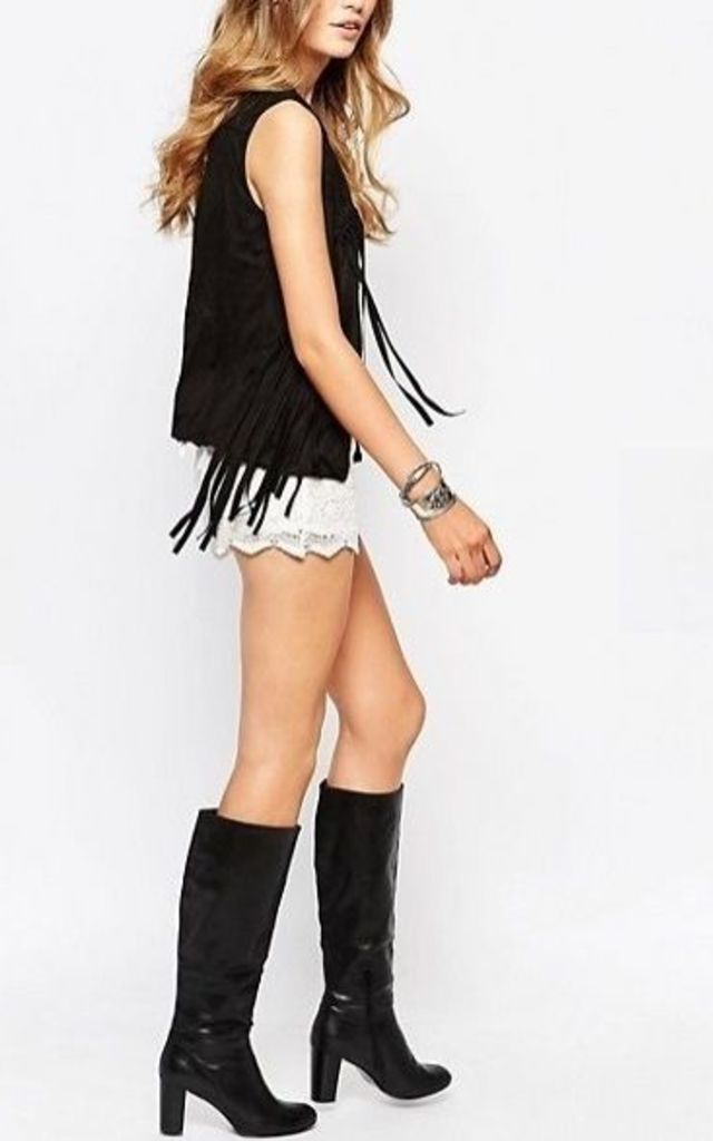 CASSIDY Faux Suede Gilet With Tassel Detail Black One Size by Spiritual Hippie
