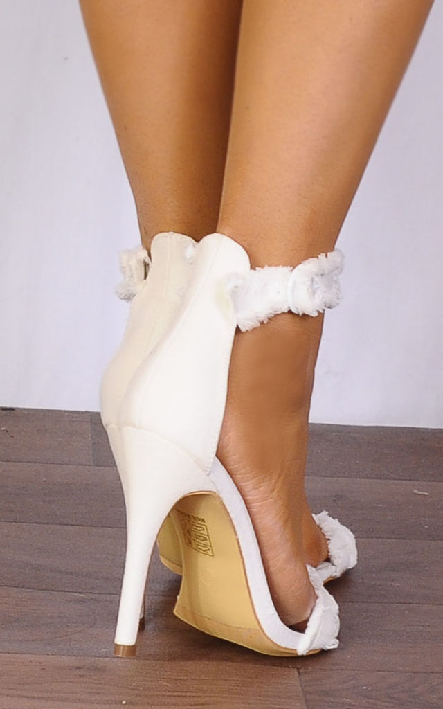 White Denim Fringed Barely There Stilettos Strappy Sandals High Heels by Shoe Closet
