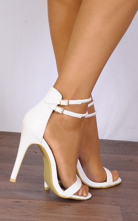 White Barely There Peep Toes Strappy Sandals Stilettos High Heels by Shoe Closet