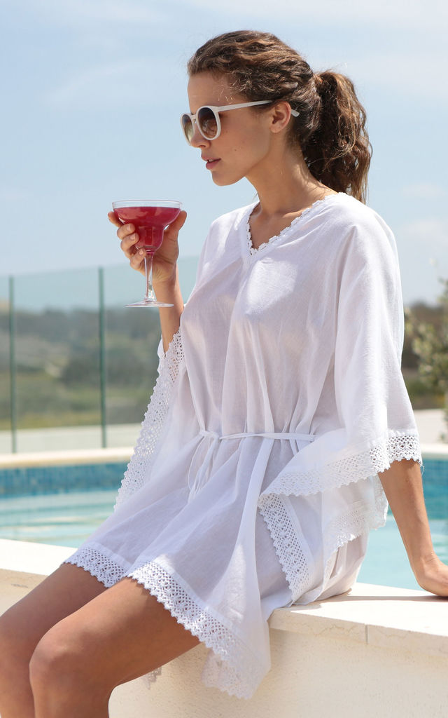 Lace Border White Cotton Voille Kaftan by likemary