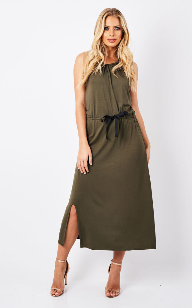 Khaki Jersey Midi Halter Dress by Scarlett Black London