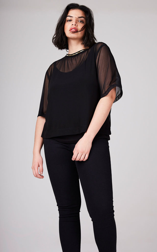 Black Mesh Top by ELVI