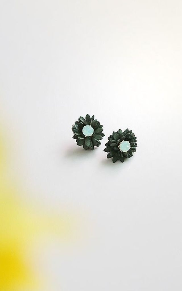 Suede Flower Stud Earrings White Opal by DOSE of ROSE