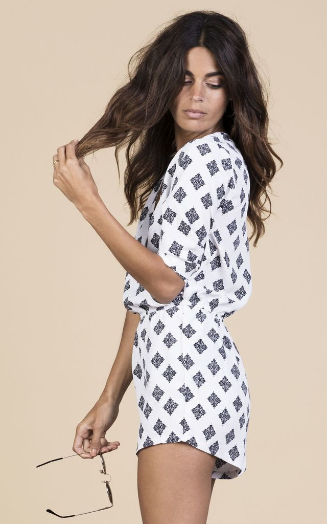Tiago Playsuit in White Rajasthan image