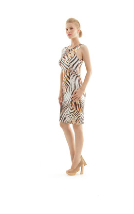 Animal Print Sleeveless Dress by Conquista Fashion