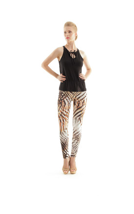 Silky Pants in Neutral Animal Print by Conquista Fashion