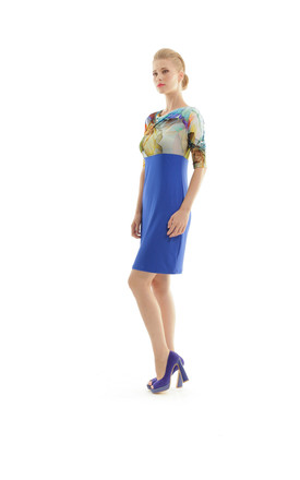 Cowl Neck Print Detail Dress in Blue/Multi by Conquista Fashion