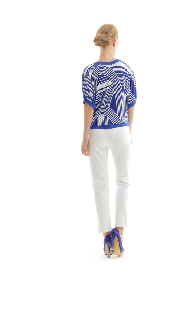 Trim Detail Print Top by Conquista Fashion