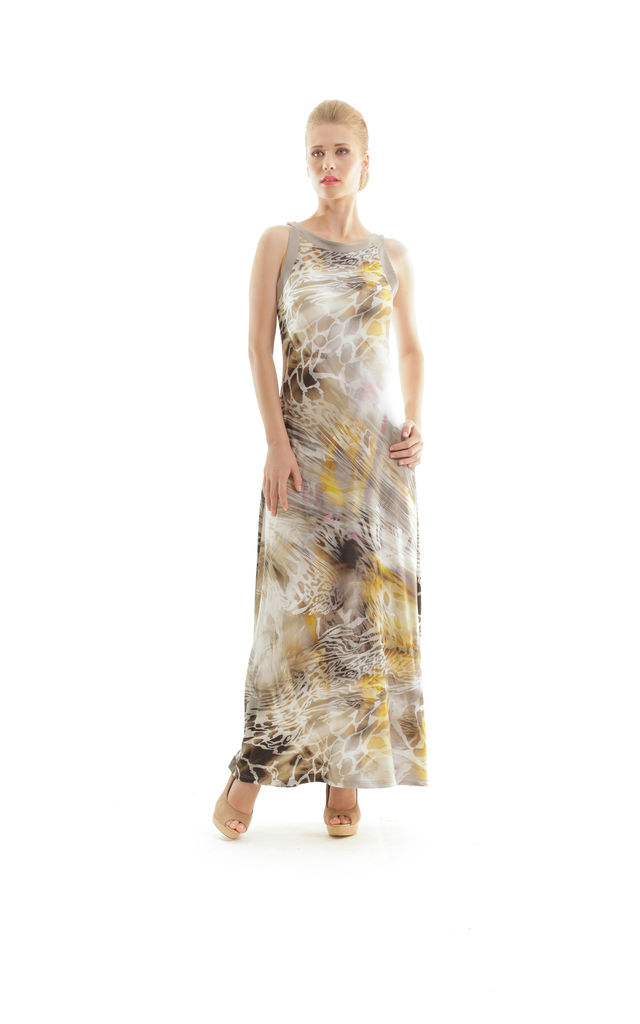 Abstract Animal Print Maxi Dress by Conquista Fashion