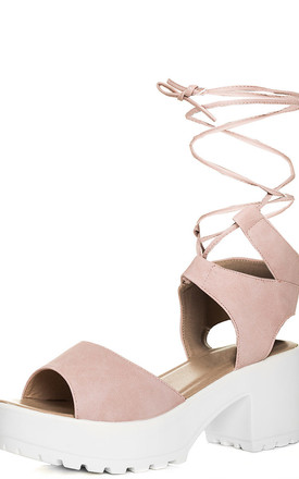 Molly Open Peep Toe Mid Heel Sandals Shoes - Pink Leather Style by SpyLoveBuy