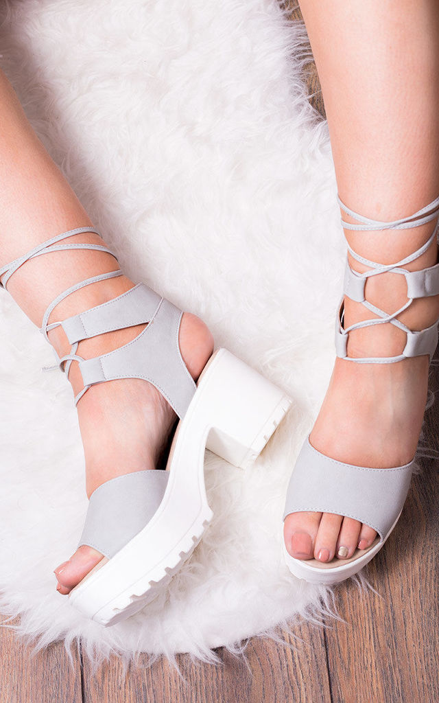 Molly Open Peep Toe Mid Heel Sandals Shoes - Grey Leather Style by SpyLoveBuy