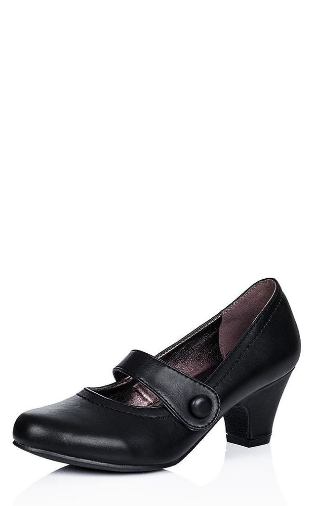 ISADORE Round Toe Mary Jane Dolly Court Shoes - Black Leather Style by SpyLoveBuy