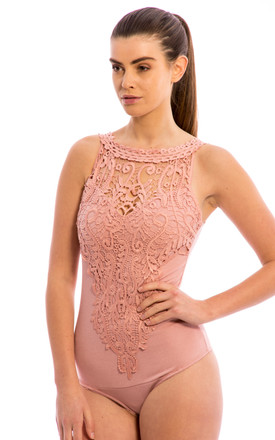 Crochet Lace Detail Bodysuit - Blush Pink by Npire London
