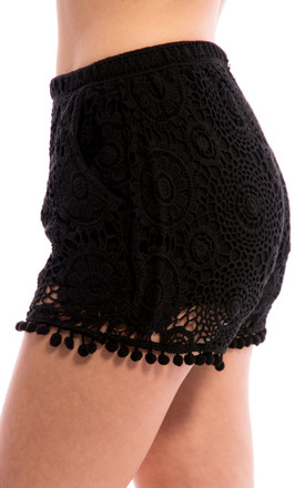 Crochet Lace Detail Hot Pants - Black by Npire London